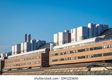 STOCKHOLM, SWEDEN - MAY 11, 2018: Side view of a big building  exterior with modern design in the city of Stockholm May 11 2018.