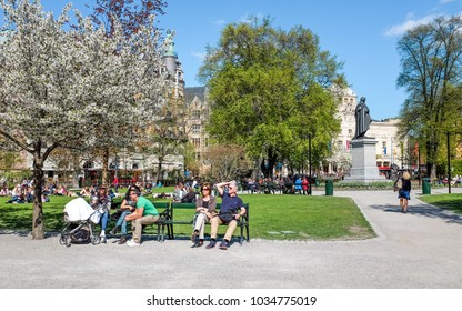 STOCKHOLM, SWEDEN - MAY 11:  People relax in Berzelii park during springtime on May 11, 2013 in Stockhom. This is one of the most central parks in the city of Stockholm.