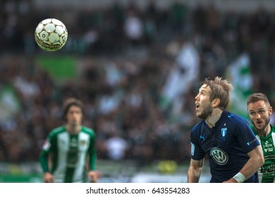STOCKHOLM, SWEDEN - MAY 17, 2017: Soccer ball in the air at the match between Hammarby IF and Malmo FF at the Tele2 arena. Result 1-1