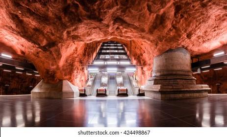 STOCKHOLM, SWEDEN â?? MAY 20 2016: Radhuset Station of the Subway in Stockholm, Sweden