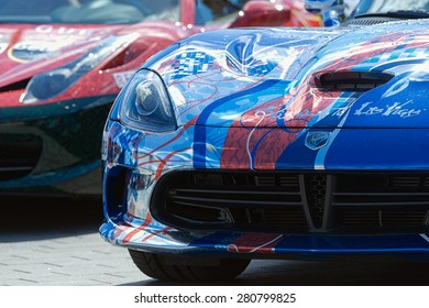 STOCKHOLM, SWEDEN - MAY 23: Gumball 3000 custom car at display on the streets of Stockholm on May 23, 2015. People at the streets admiring the exotic cars at display.