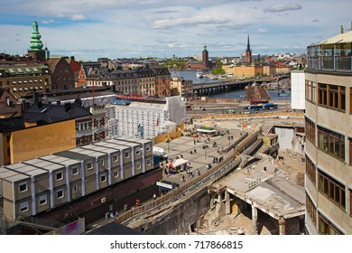 STOCKHOLM SWEDEN May 25, 2017. The major rebuilding of the well-known Slussen in Stockholm.