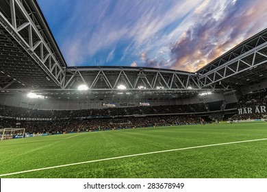 STOCKHOLM, SWEDEN - MAY 25: Dramatic sky over Tele2 arena during the football game between DIF and AIK at the evening on May 25, 2015. Final result 2-2.