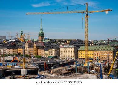 STOCKHOLM, SWEDEN - MAY 26, 2018: Cityscape view from above of large contruction site  at the Old Town and Slussen in Stockholm Sweden May 26, 2018.
