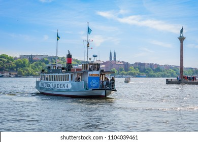 STOCKHOLM, SWEDEN - MAY 26, 2018: Front view of Stromma Kanlalbolag´s city steam ship ferry with passengers approaching the quay in Stockholm Sweden May 26, 2018.