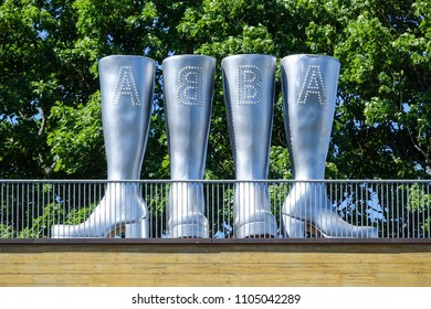 Stockholm, Sweden - May 31, 2018: Abba boots at Abba the museum at djurgarden.