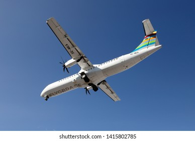 Stockholm, Sweden - May 31, 2019. BRA, Braathens Regional Airlines ATR 72-600 (SE-MKA) on final approach to the Stockholm Bromma airport with deployed landing gear.