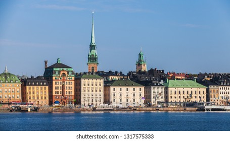 Stockholm, Sweden - May 4, 2016: Gamla Stan city district in central Stockholm, German Church spire as a skyline dominant