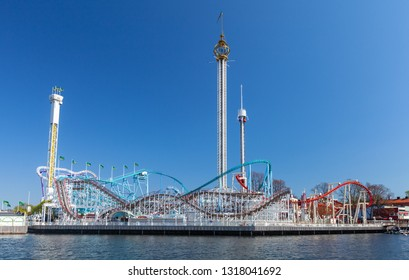Stockholm, Sweden - May 4, 2016: Grona Lund waterfront view, seasonal amusement park with roller coasters and thrill rides