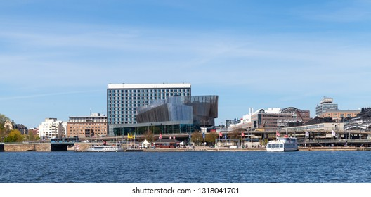 Stockholm, Sweden - May 6, 2016: Panoramic cityscape of Stockholm with Radisson Blu Waterfront Hotel facade