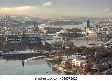 Stockholm, Sweden - Nov 10, 2016 : Aerial view of Stockholm city during the winter, including the Stockholm City Hall. This photo was taken after Stockholm had its snowiest November day in 111 years.