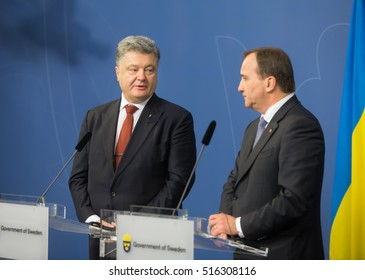 STOCKHOLM, SWEDEN - Nov 14, 2016:  Prime Minister of the Kingdom of Sweden Stefan Lofven at the joint press conference with Ukrainian President Petro Poroshenko