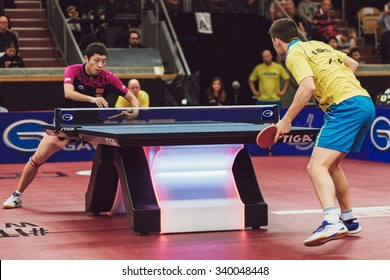 STOCKHOLM, SWEDEN - NOV 15, 2015: Match between Kristian Karlsson and Xu Xin at the table tennis tournament SOC at the arena Eriksdalshallen.