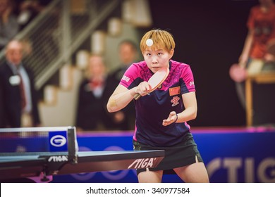 STOCKHOLM, SWEDEN - NOV 15, 2015: Finals between Mu Zi (CHI) and Zhu Yuling (CHI) in table tennis tournament SOC at the arena Eriksdalshallen.