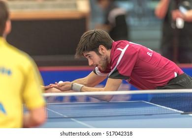 STOCKHOLM, SWEDEN - NOV 16, 2016: Benjamin Brossier at the table tennis tournament SOC at the arena Eriksdalshallen in Stockholm.