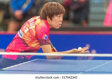 STOCKHOLM, SWEDEN - NOV 16, 2016: Female players at the table tennis tournament SOC at the arena Eriksdalshallen in Stockholm.
