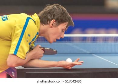 STOCKHOLM, SWEDEN - NOV 16, 2016: Alexander Franzen (SWE) at the table tennis tournament SOC at the arena Eriksdalshallen in Stockholm.