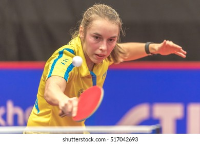 STOCKHOLM, SWEDEN - NOV 16, 2016: Female players at the table tennis tournament SOC at the arena Eriksdalshallen in Stockholm.