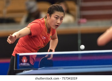 STOCKHOLM, SWEDEN - NOV 17, 2017: Ding Ning (China) against Zhang Qiang (China) at the table tennis tournament SOC at the arena Eriksdalshallen in Stockholm.