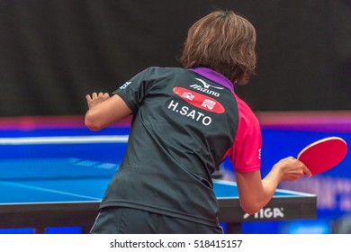 STOCKHOLM, SWEDEN - NOV 18, 2016: Hitomi Sato (JPN) vs Li Qian (POL) at the table tennis tournament SOC at the arena Eriksdalshallen in Stockholm.