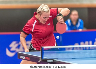 STOCKHOLM, SWEDEN - NOV 18, 2016: Barbora Balazova (SVK) vs Hyowon Suh (KOR) at the table tennis tournament SOC at the arena Eriksdalshallen in Stockholm.