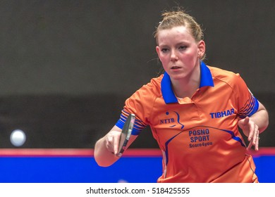 STOCKHOLM, SWEDEN - NOV 18, 2016: Bernadette Szocs (ROU) vs Britt Eerland (NED) at the table tennis tournament SOC at the arena Eriksdalshallen in Stockholm.
