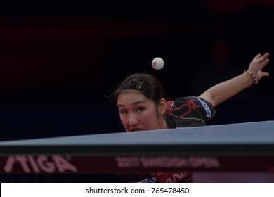 STOCKHOLM, SWEDEN - NOV 18, 2017:  Zhu Yuling (Cina) against Miyu Kato (Japan), Quarterfinals, Zhu won