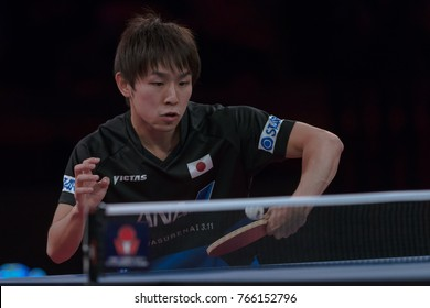 STOCKHOLM, SWEDEN - NOV 18, 2017: Table tennis match between Fang Bo (China) and Koki Niwa (Japan) at the table tennis tournament SOC at the arena Eriksdalshallen in Stockholm. Quarterfinal