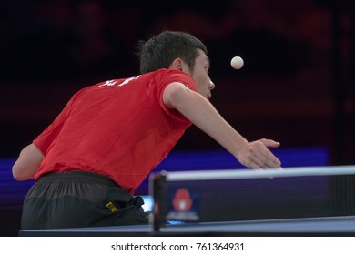 STOCKHOLM, SWEDEN - NOV 18, 2018: Xu Xin (China) against Jonathan Groth (Denmark) at the table tennis tournament SOC at the arena Eriksdalshallen in Stockholm. Quarterfinal Xu Xin winner.