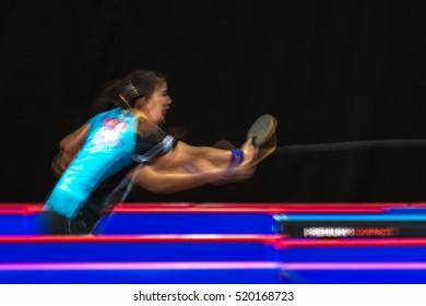STOCKHOLM, SWEDEN - NOV 19, 2016: Sakura Mori (JPN) vs Jihee Jeon (KOR) in the table tennis tournament SOC in motionblur.