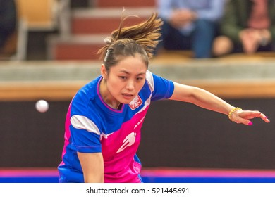 STOCKHOLM, SWEDEN - NOV 19, 2016: Kasumi Ishikawa (JPN) vs Qian Li (POL) in the table tennis tournament SOC at the arena Eriksdalshallen in Stockholm.
