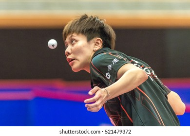STOCKHOLM, SWEDEN - NOV 19, 2016: I Ching Cheng (TPE) vs Hyowon Suh (KOR) in the table tennis tournament SOC at the arena Eriksdalshallen in Stockholm.