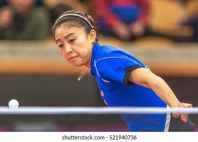 STOCKHOLM, SWEDEN - NOV 20, 2016: Melek Hu (TUR) vs Ying Han (GER) in the table tennis tournament SOC at the arena Eriksdalshallen in Stockholm.