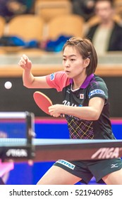 STOCKHOLM, SWEDEN - NOV 20, 2016: Woman final between Kasumi Ishikawa (JPN) and Melek Hu (TUR) in the table tennis tournament SOC at the arena Eriksdalshallen in Stockholm.