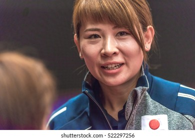 STOCKHOLM, SWEDEN - NOV 20, 2016: Coach of Kasumi Ishikawa (JPN) at the table tennis tournament SOC at the arena Eriksdalshallen in Stockholm.