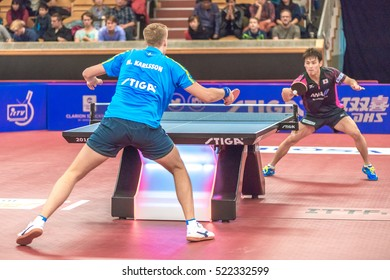 STOCKHOLM, SWEDEN - NOV 20, 2016: Mens single final between Mattias Karlsson (SWE) and Yuya Oshima (JPN) at the table tennis tournament SOC at the arena Eriksdalshallen in Stockholm.