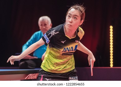 STOCKHOLM, SWEDEN - NOV 3,, 2018: Kasumi Ischikawa (JPN) vs Ning Ding (CHI) at the table tennis tournament SOC at the arena Eriksdalshallen in Stockholm.