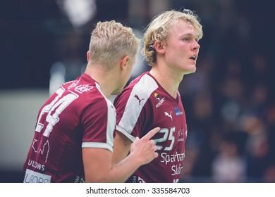 STOCKHOLM, SWEDEN - NOV 4, 2015: Tactics between Jonsson and Jildenback at the Handball game between Hammarby vs Lugi at Eriksdalshallen. Allsvenskan Swedish leugue