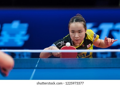 STOCKHOLM, SWEDEN - NOV 4, 2018: Woman finals between the winner Mima Ito (JPN ) vs Yuling Zhu (CHI) at  the table tennis tournament SOC at the arena Eriksdalshallen in Stockholm. Mima Ito the winner