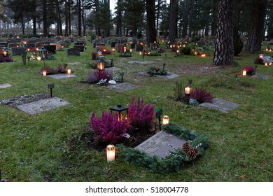 Stockholm, Sweden - Nov 5, 2016 : Scene of All Saints day at the Unesco World Heritage, The Woodland Cemetery, in Stockholm, Sweden.