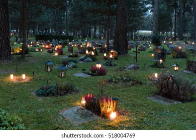 Stockholm, Sweden - Nov 6, 2016 : Scene of All Saints day at the Unesco World Heritage, The Woodland Cemetery, in Stockholm, Sweden.