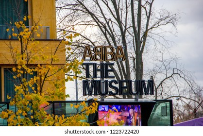 Stockholm/ Sweden - November 05 2016: Entrance of the ABBA museum of the famous Swedish music band, a famous tourist destination