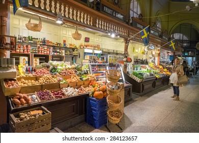 STOCKHOLM, SWEDEN â?? NOVEMBER 10: Ostermalm market hall on November 10, 2014 in Stockholm. The famous Ostermalm market hall was opened in 1888.
