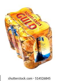 Stockholm, Sweden - November 16, 2012: A laminated six-pack of brand Norrlands gold (Norrlands guld) beer (3.5% alcohol) from Spendrups breweries in Sweden.