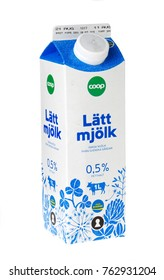 Stockholm, Sweden - November 16, 2017: One milk carton containing 1 liter skimmed milk for the Swedish market. This milk box was filled during August 2017.