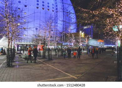 Stockholm, Sweden - November 16, 2018: Ericsson Globe / Stockholm Globe Arena / Globen, an indoor arena in Stockholm Globe City, Johanneshov district, the largest hemispherical / spherical building