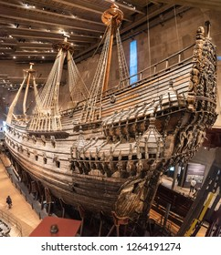 Stockholm, Sweden - November 18, 2018. 17th century warship Vasa displayed at Vasa Museum (Vasamuseet) in Stockholm.