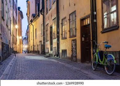 Stockholm, Sweden - November 22, 2018. Street view in Gamla Stan historic district of Stockholm, with bicycle