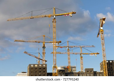 STOCKHOLM, SWEDEN - OCT 01, 2017: Silhouette of many construction cranes and buildings in Norra stationsomradet October 01, 2017 in Stockholm, Sweden