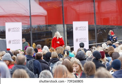 STOCKHOLM, SWEDEN - OCT 22, 2017: Artist Isa Tengblad  supporting the #metoo campaign against sexual harassment at Sergels torg in Stockholm. October 22, 2017, Sweden